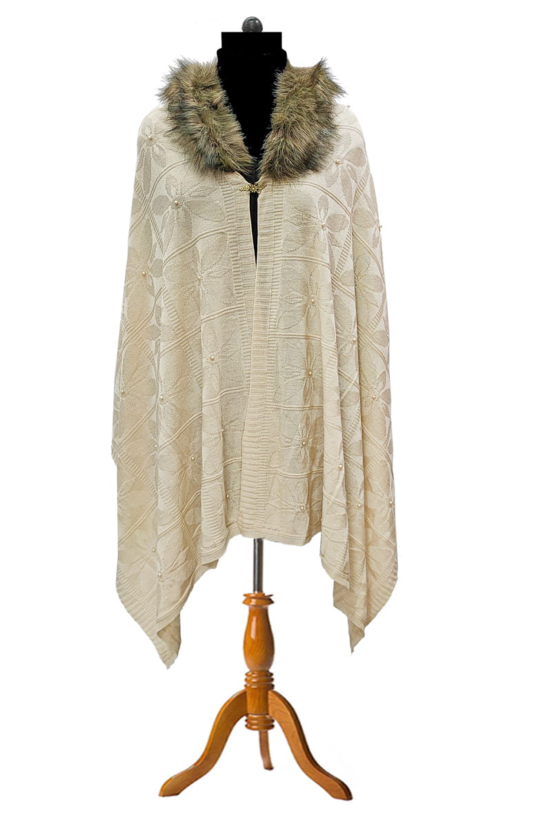 Woolen Beige Party Feather Cape