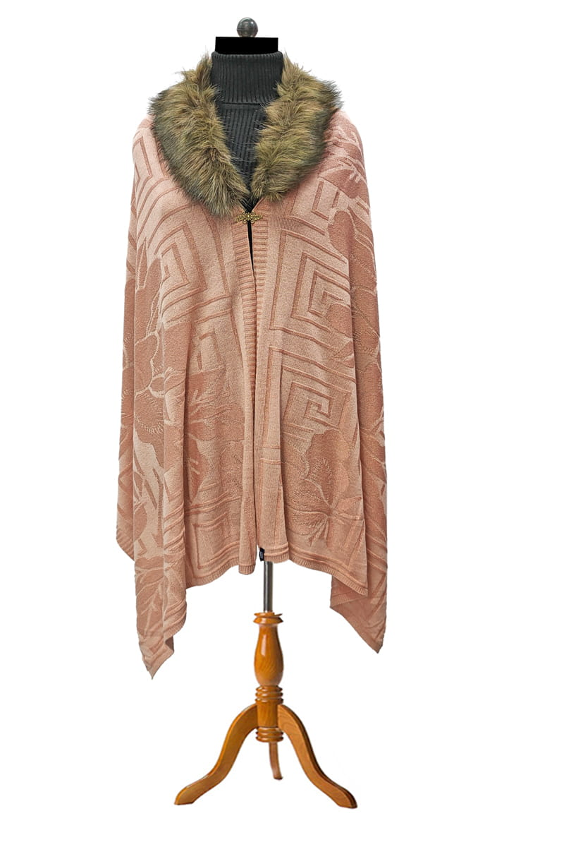 Woolen Pink Party Feather Cape