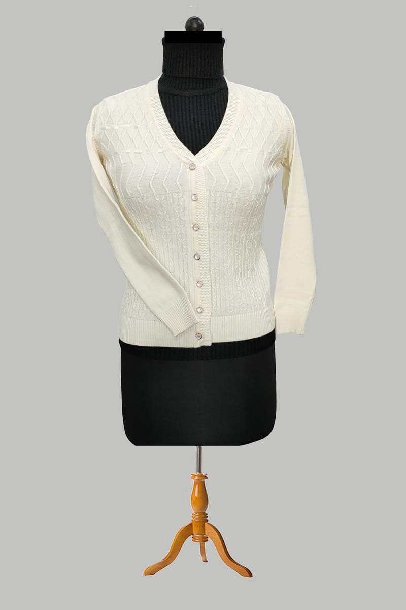 Pure Wool Off White Cardigan