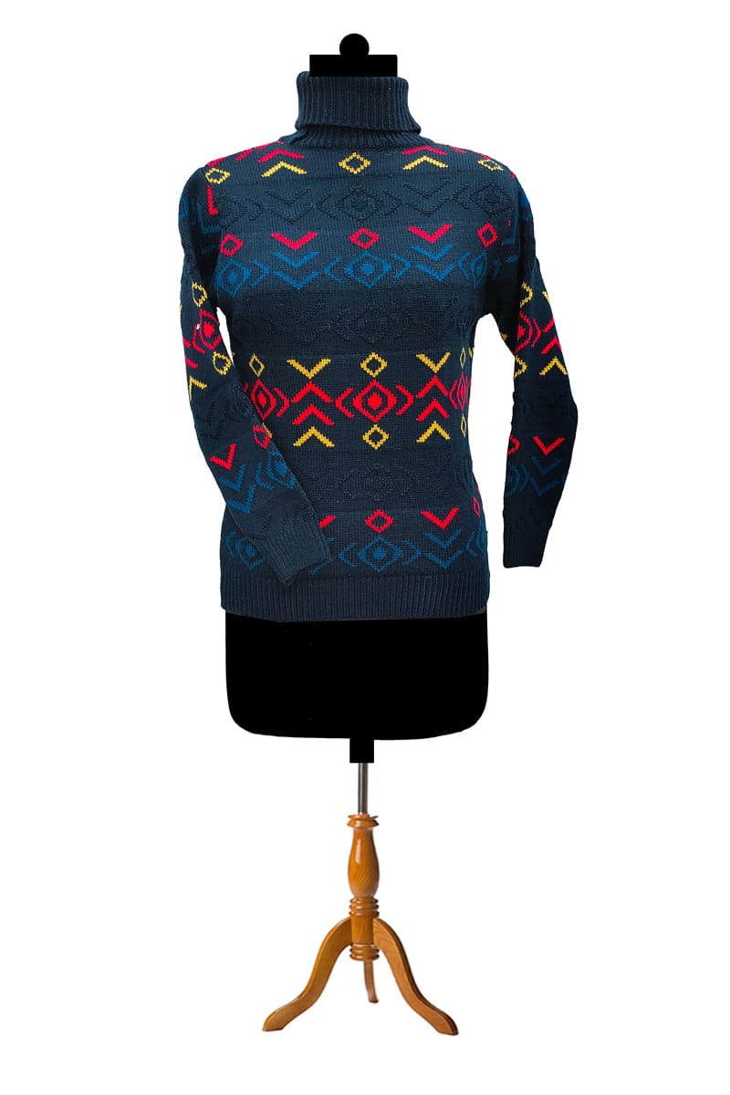 Navy Blue Multi Color Knitted Sweater