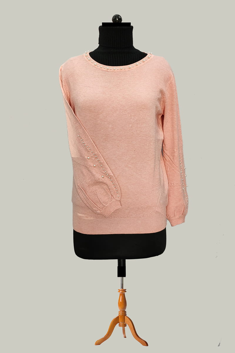 Pure Wool Pink Pearl Embroidered Top