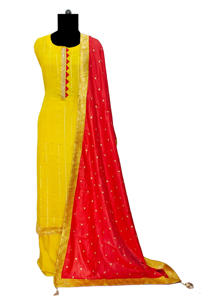 Yellow Designer Silk Suit With Silk Embroidered Dupatta