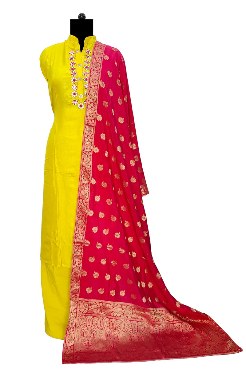 Yellow Neck Work Silk Suit With Banarasi Dupatta