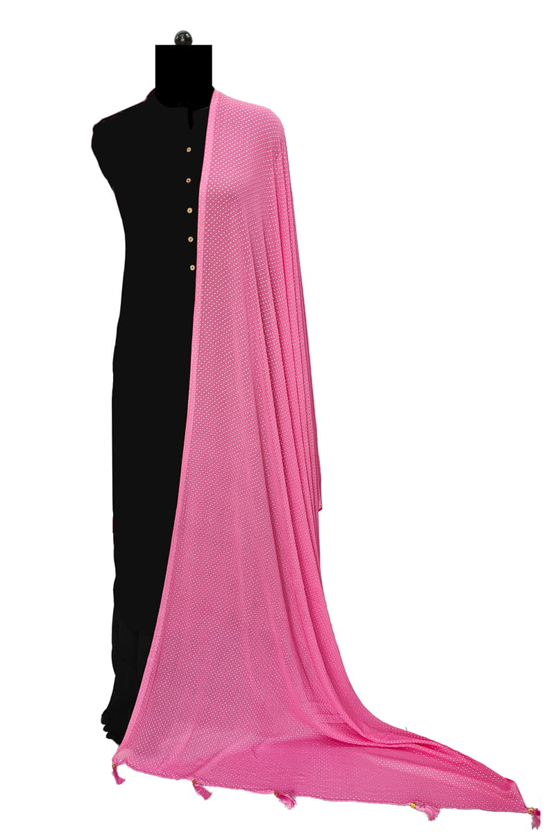 Pink Chiffon Dupatta With Golden Dots