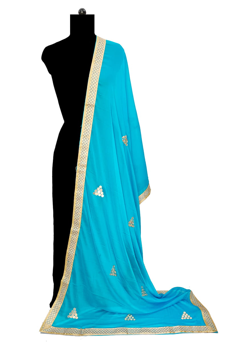 Aqua Blue Chiffon Dupatta With Gotta Work