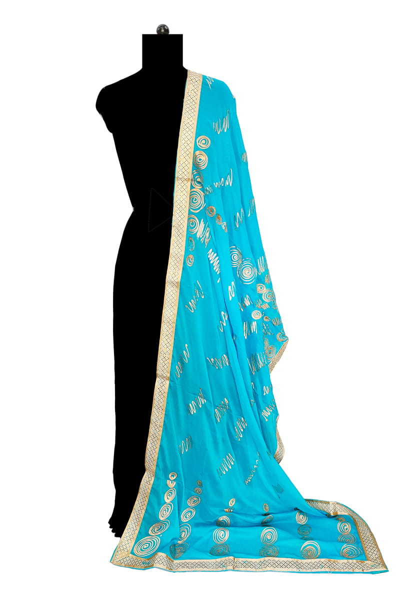 Aqua Blue Chiffon Dupatta With Khadi Work