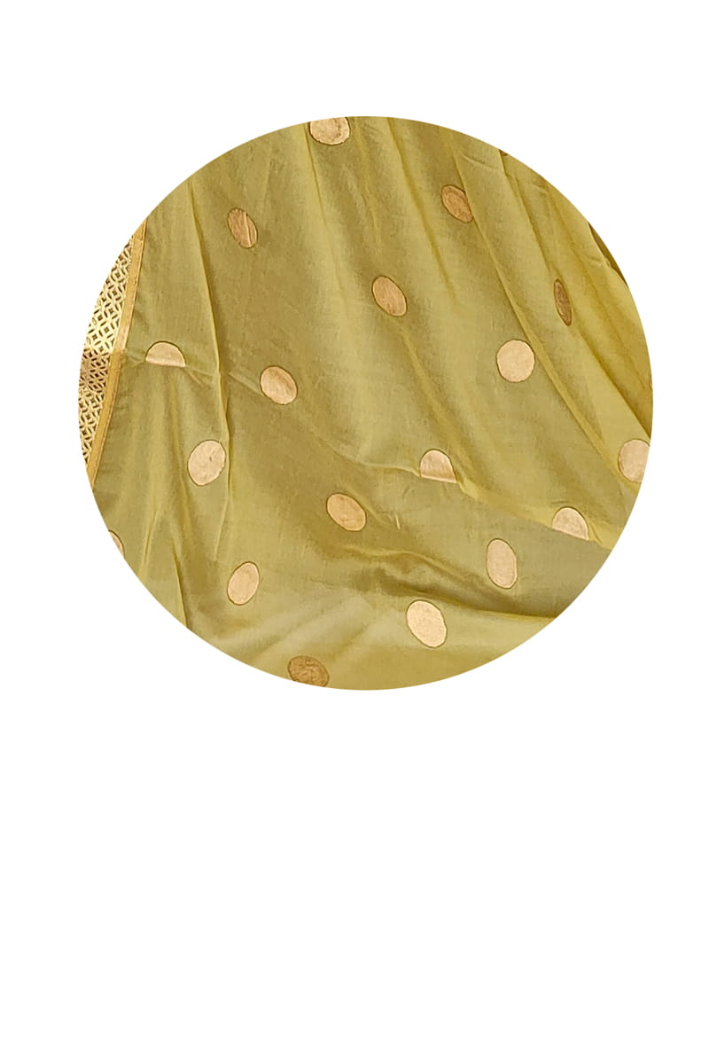 Goden Chiffon Dupatta With Khadi Work