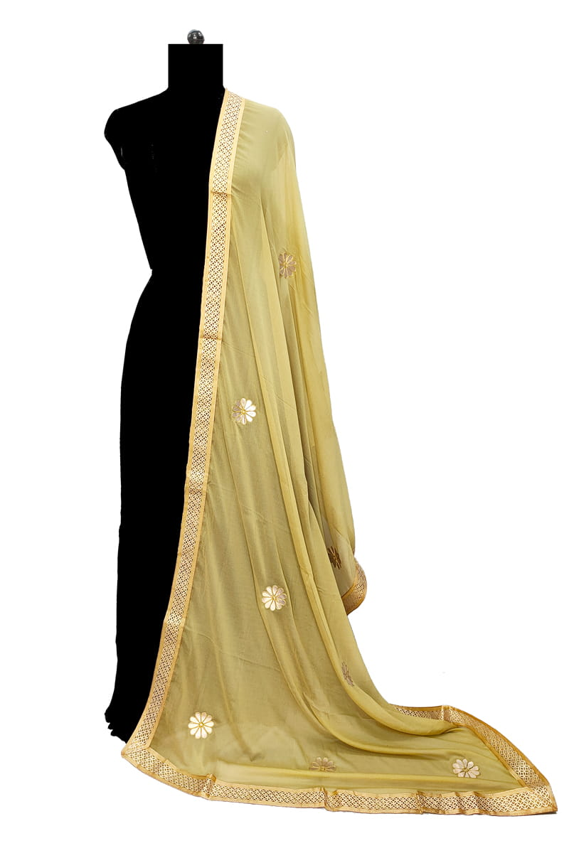 Golden Chiffon Dupatta With Gotta Work