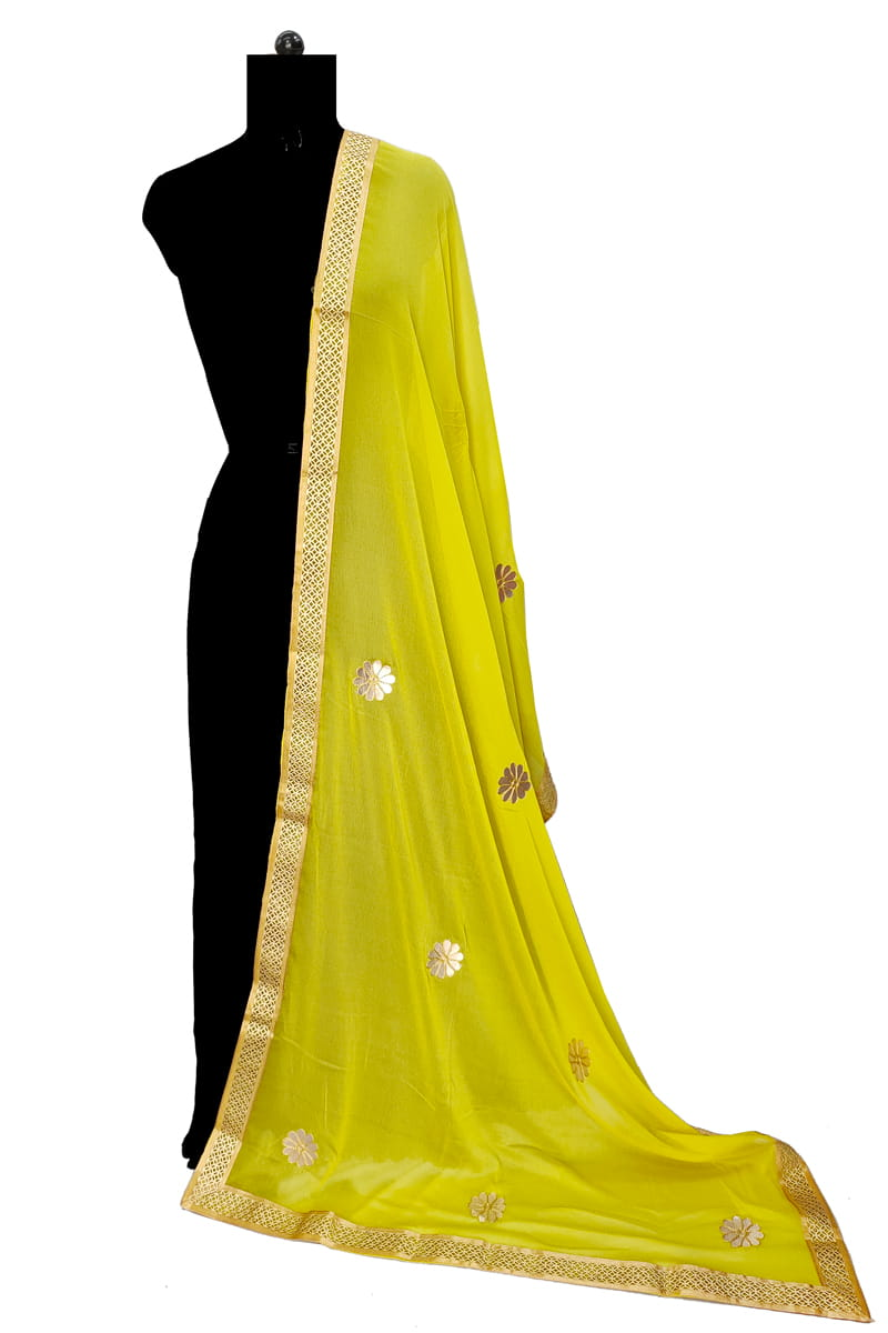 Lemon Chiffon Dupatta With Gotta Work