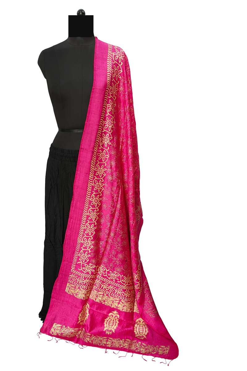 Magenta Cotton Silk Dupatta With Khadi Work