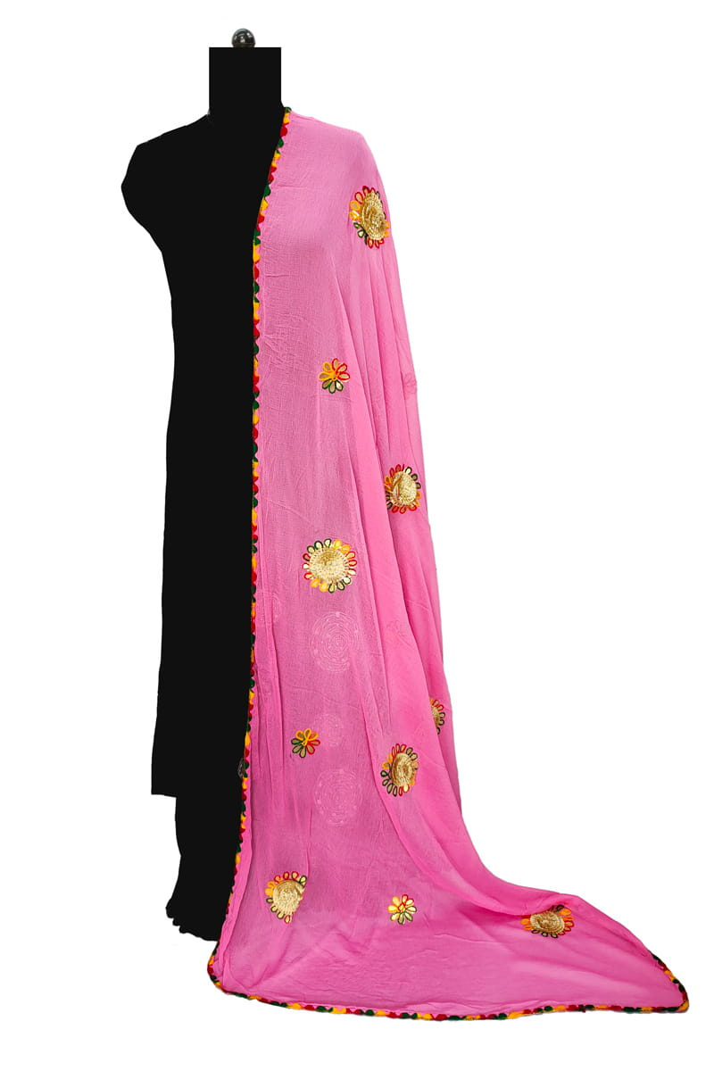 Pink Chiffon Dupatta With Gotta Embroidery