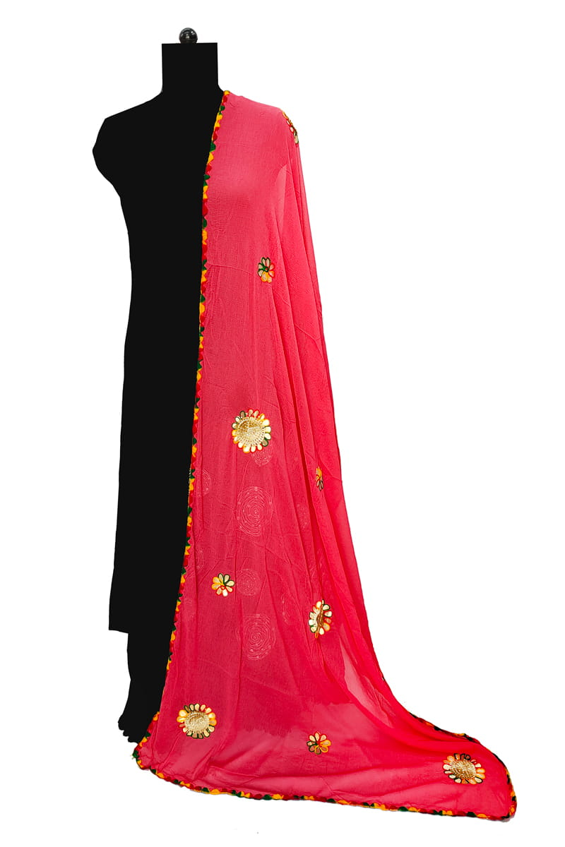 Red Chiffon Dupatta With Gotta Embroidery