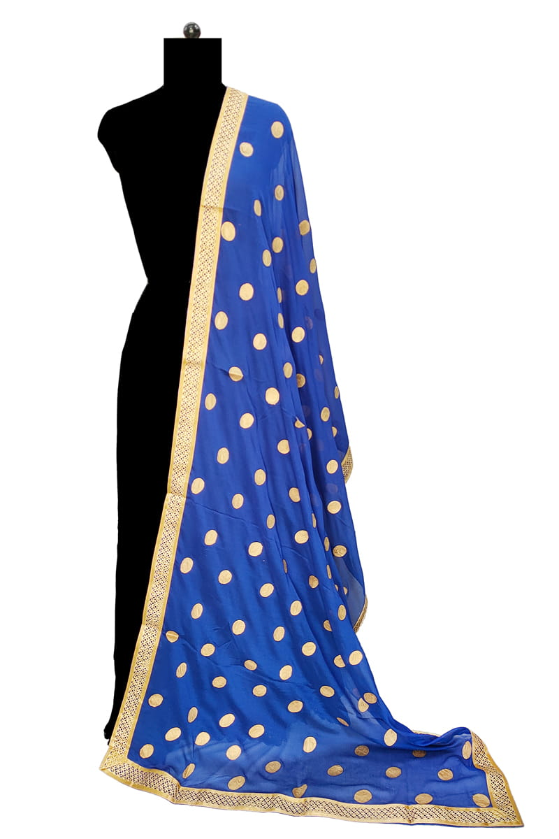 Royal Blue Chiffon Dupatta With Khadi Work