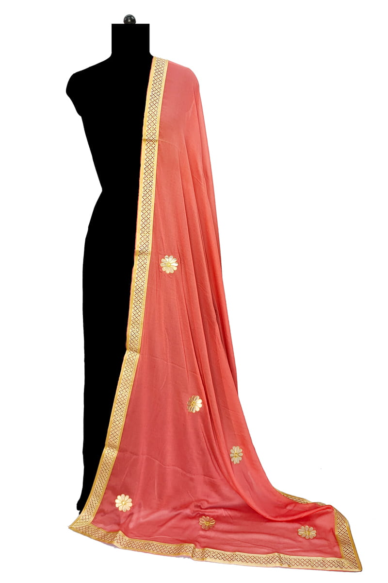 Rust Chiffon Dupatta With Gotta Work
