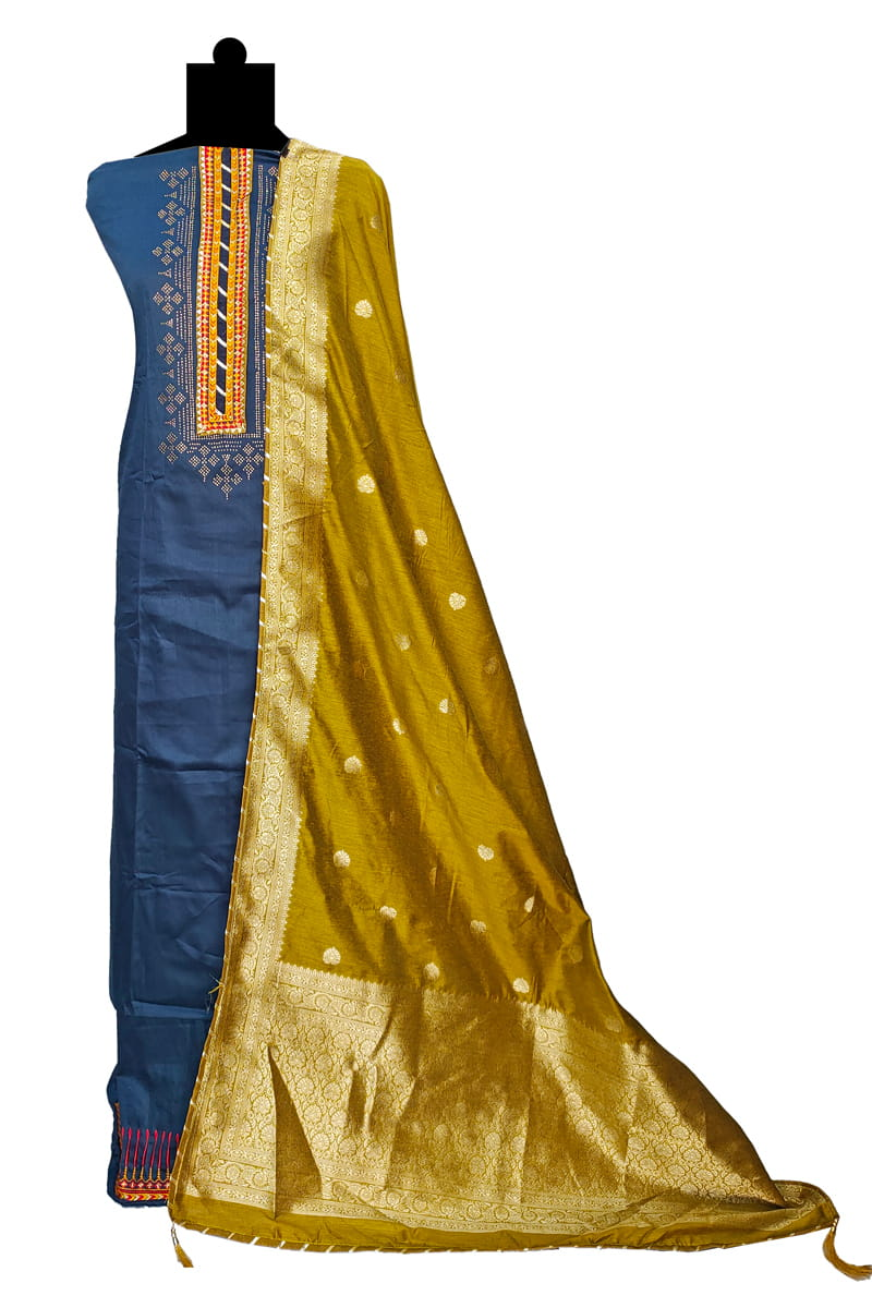 Blue Mustard Cotton Silk Suit With Banarasi Silk Dupatta