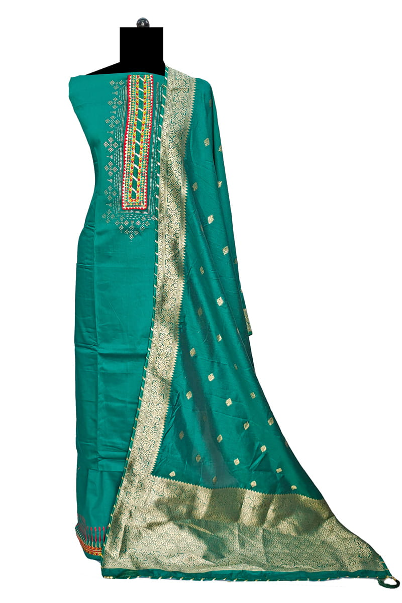 Sea Green Cotton Silk Suit With Banarasi Silk Dupatta