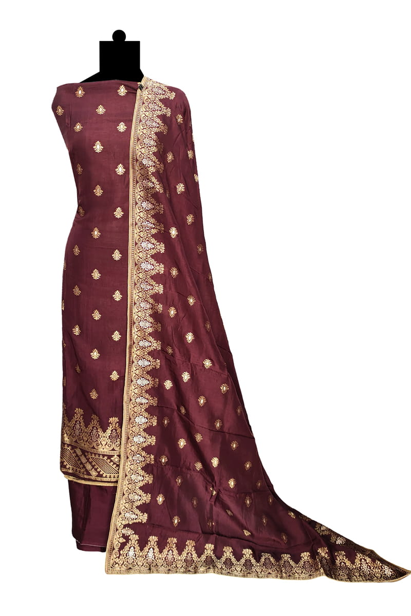 Brown Banarasi Silk Suit With Banarasi Silk Dupatta