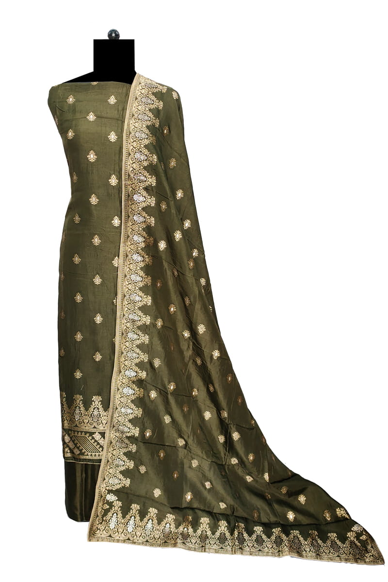 Mehndi Banarasi Silk Suit With Banarasi Silk Dupatta