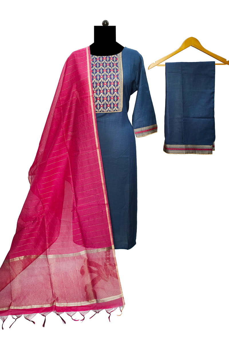 Cotton Silk Blue Magenta Banarasi Dupatta Suit