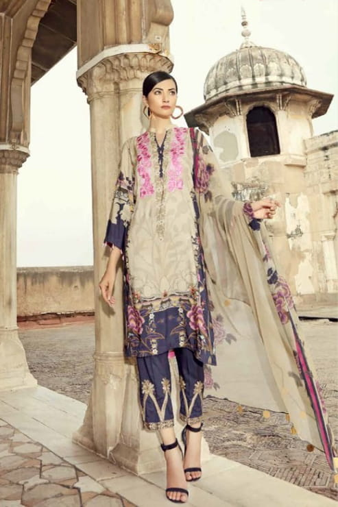 Pakistani Cotton Beige Purple Embroidered Suit