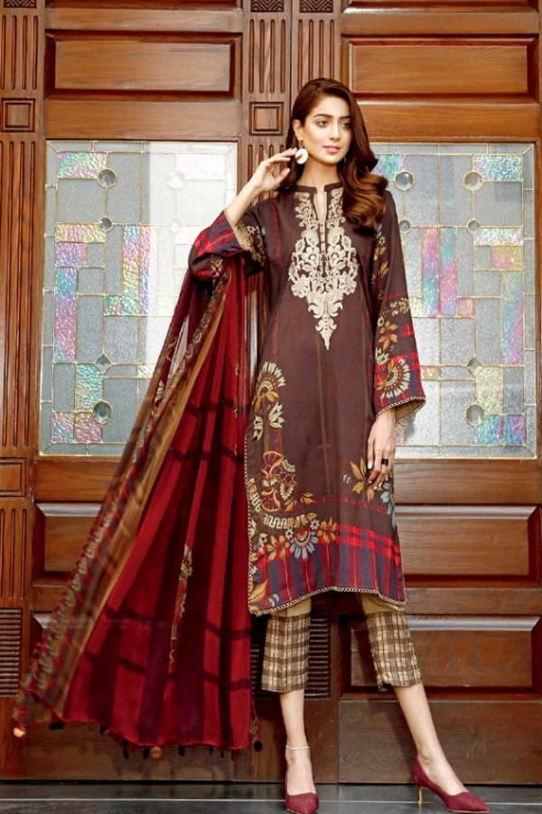 Pakistani Cotton Brown Multi Color Embroidered Suit