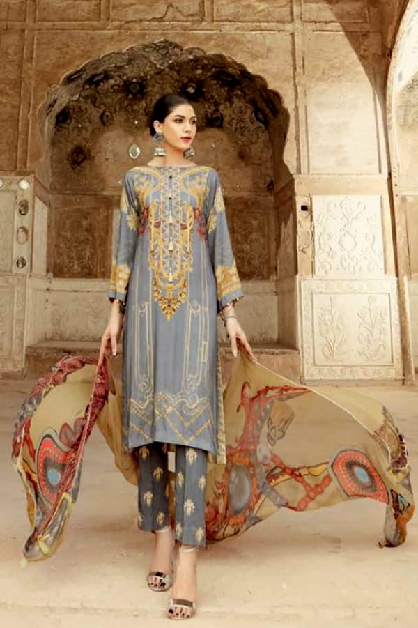 Pakistani Cotton Grey Color Embroidered Suit