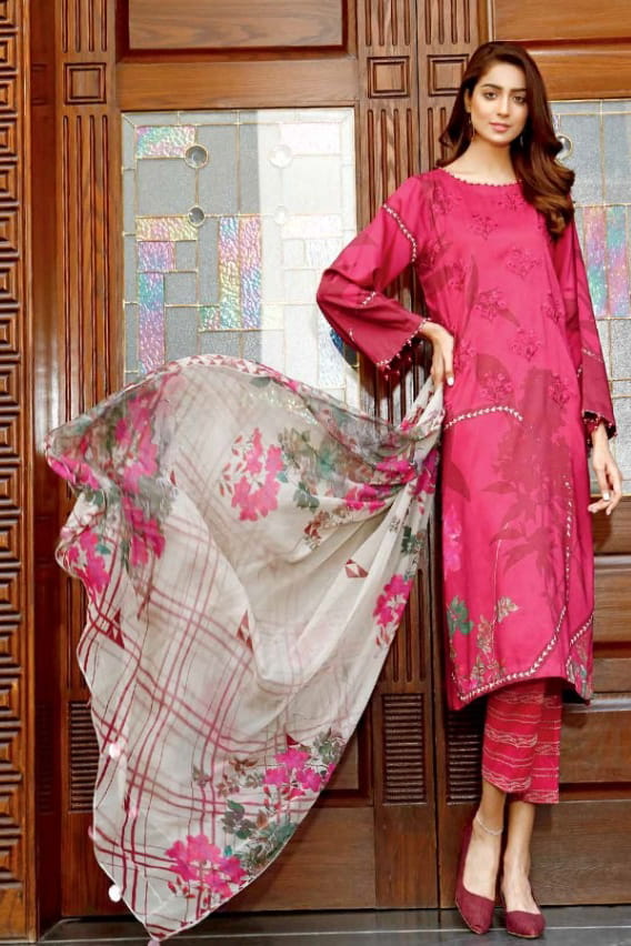 Pakistani Cotton Mageta Color Embroidered Suit