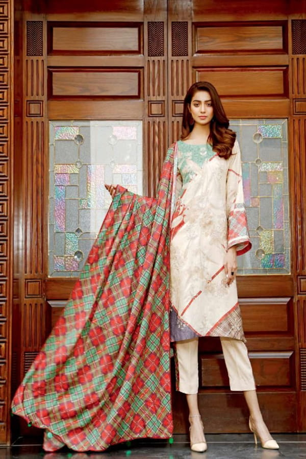 Pakistani Cotton Pink Color Embroidered Suit