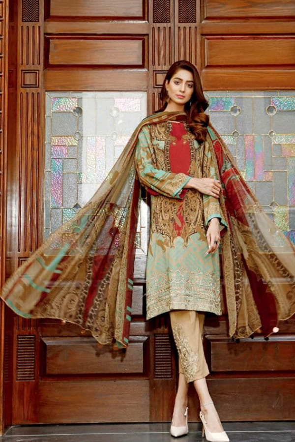 Pakistani Cotton Green Multi Color Embroidered Suit