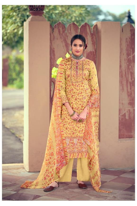 Pure Cotton Yellow Printed Suit With Chiffon Dupatta