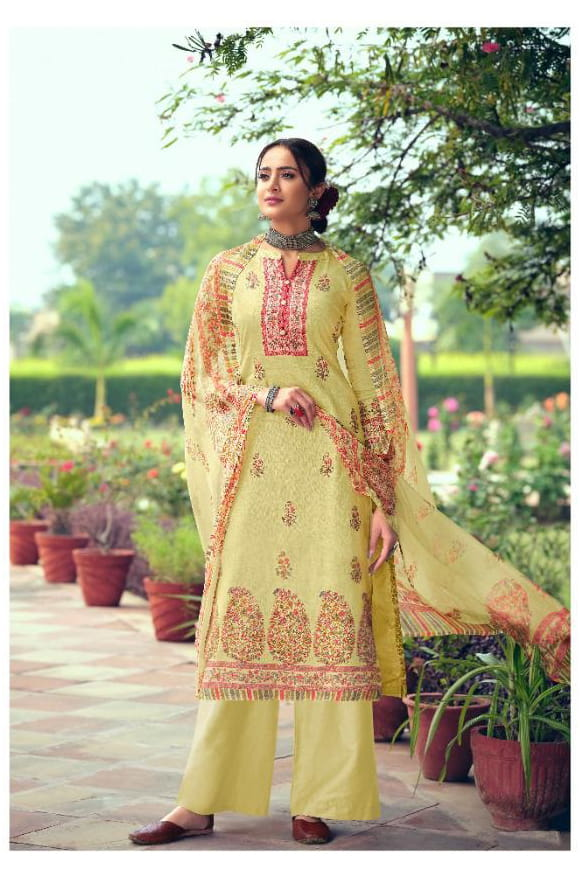 Pure Cotton Pista Green Printed Suit With Chiffon Dupatta