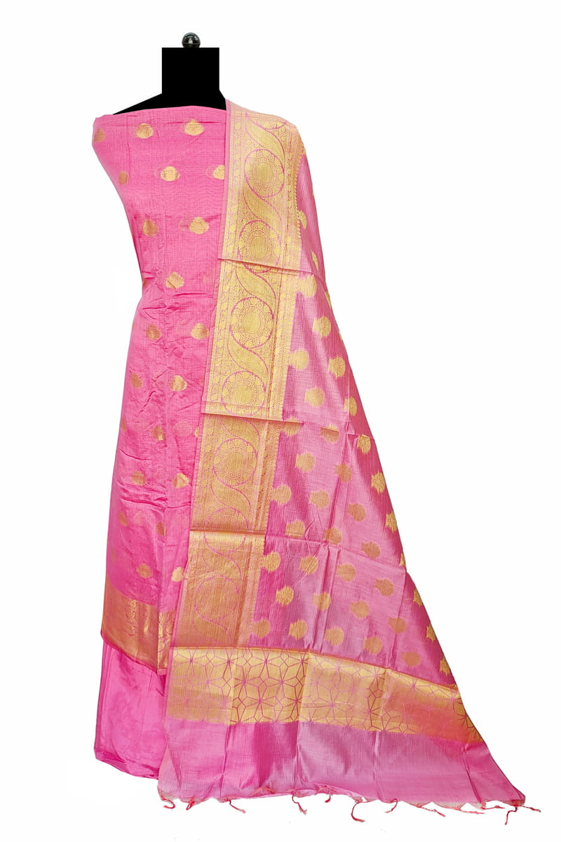 Silk Pink Color Banarasi Work Suit