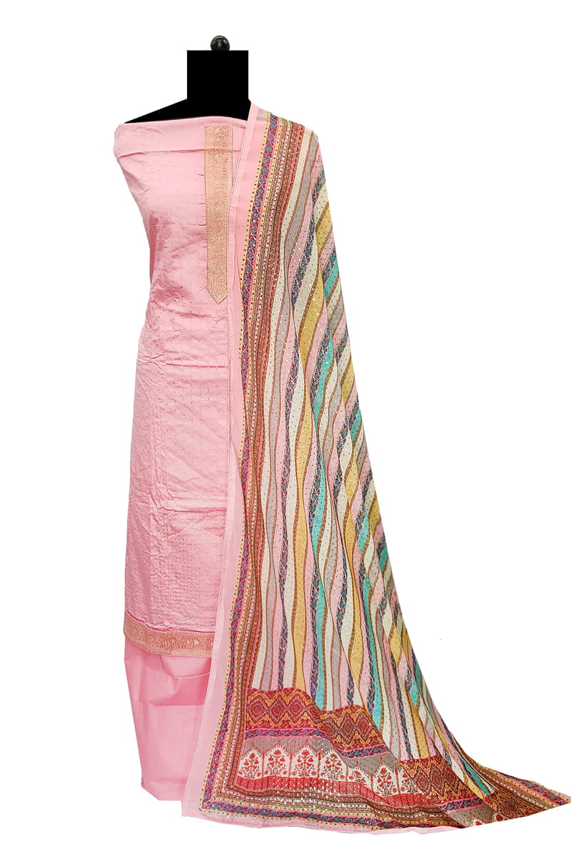 Pink Purple Cotton Silk Suit With Banarasi Silk Dupatta