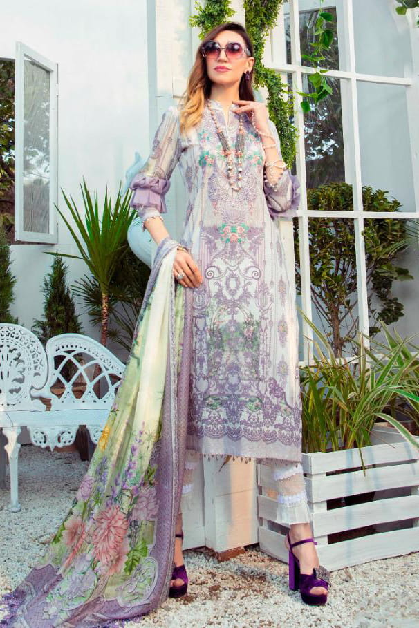 Karachi Lawn Cotton White Purple Embroidered Suit