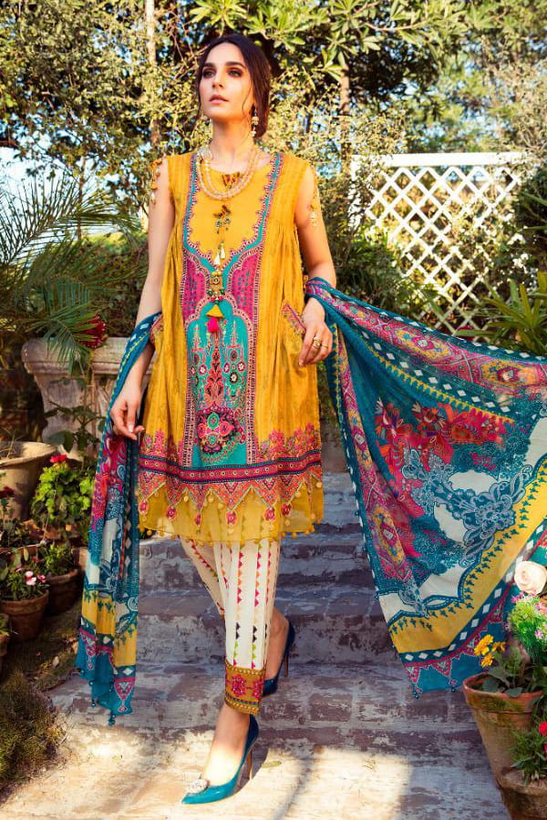 Karachi Lawn Cotton Mustard Embroidered Suit