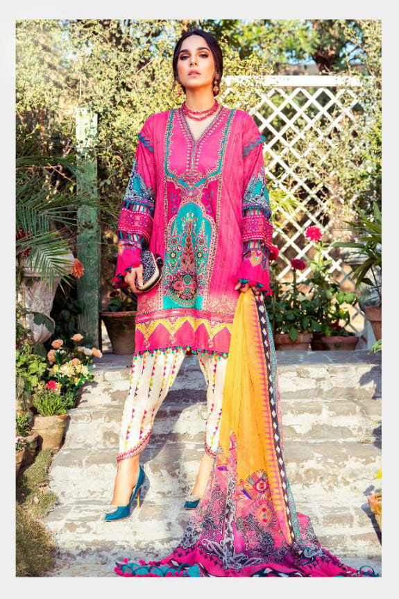 Karachi Lawn Cotton Magenta Embroidered Suit