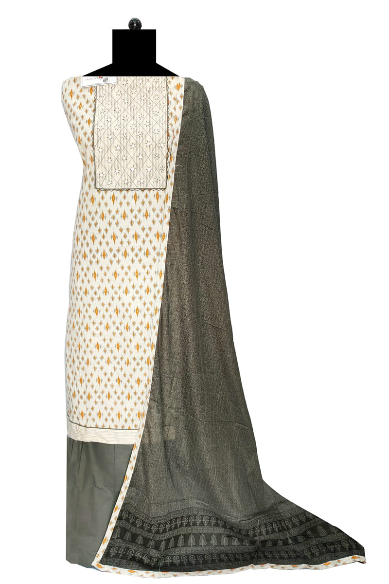 Cotton Off White Grey Embroidered Suit With Cotton Dupatta