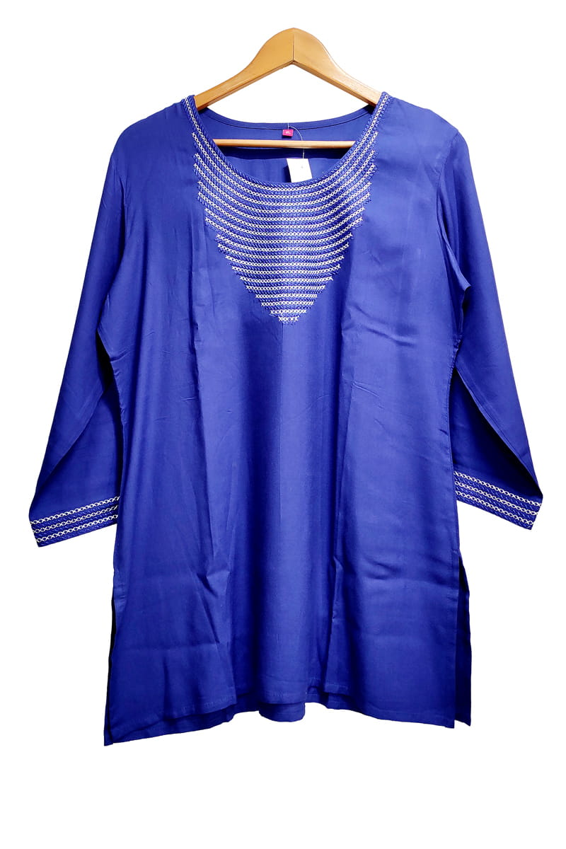 Blue Embroidered Short Kurta