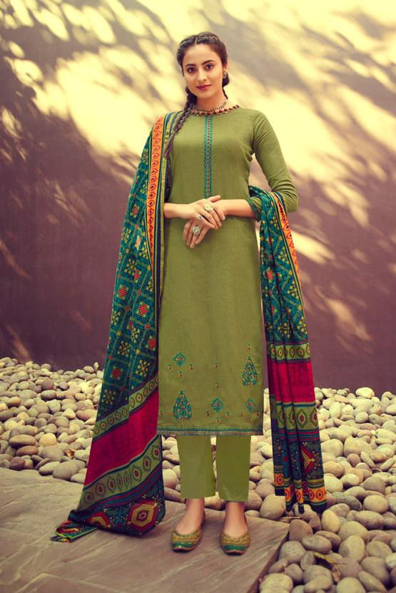 Glaze Cotton Green Embroidered Suit With Printed Patola Dupatta