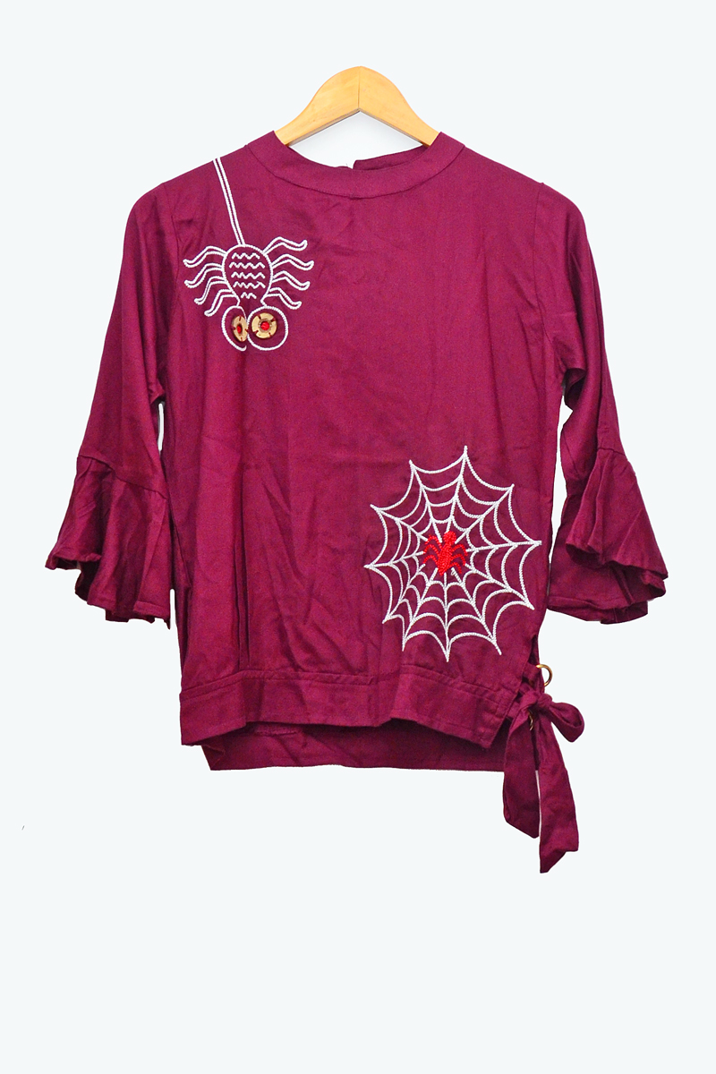 Cotton Maroon Embroidered Top
