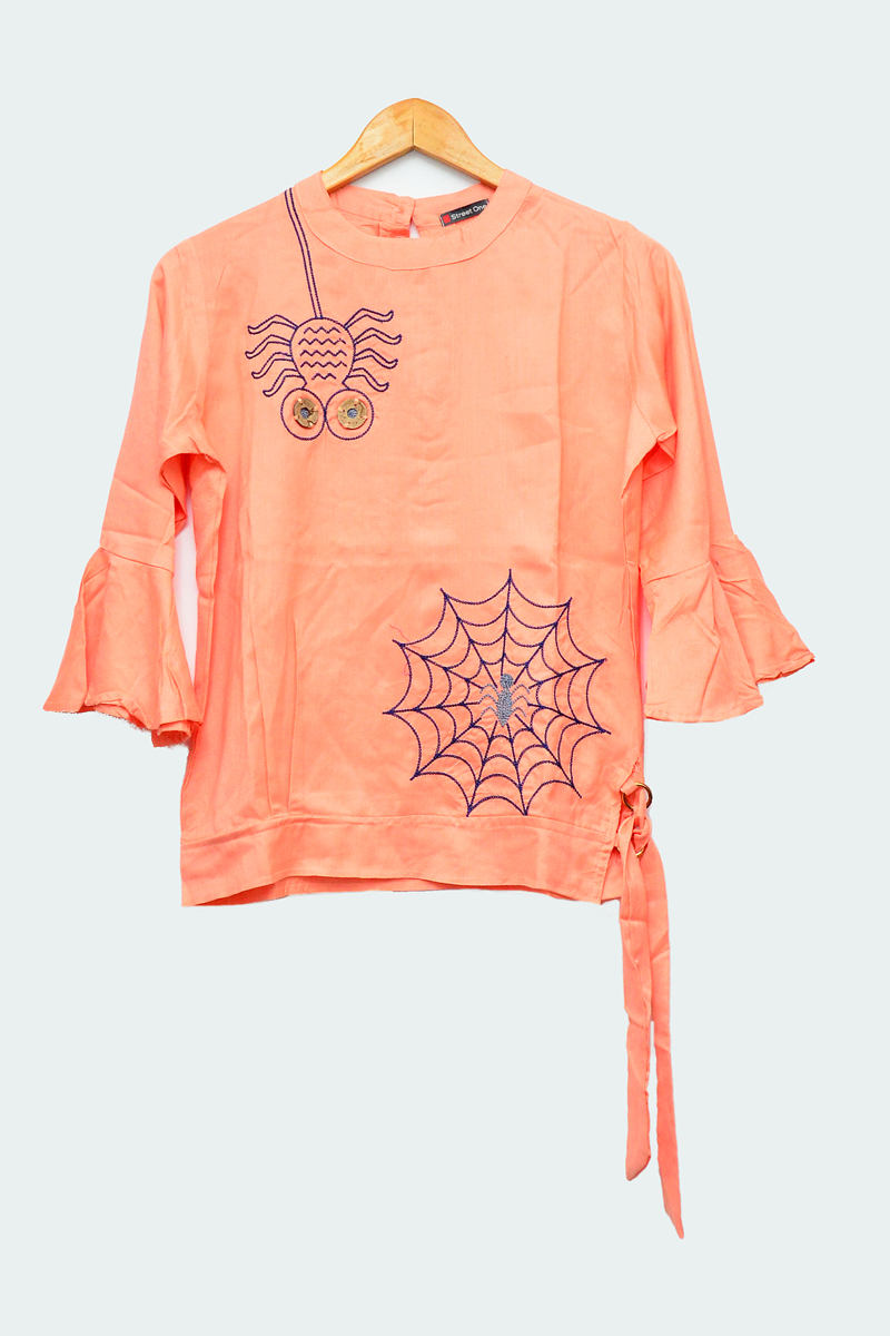 Cotton Peach Embroidered Top