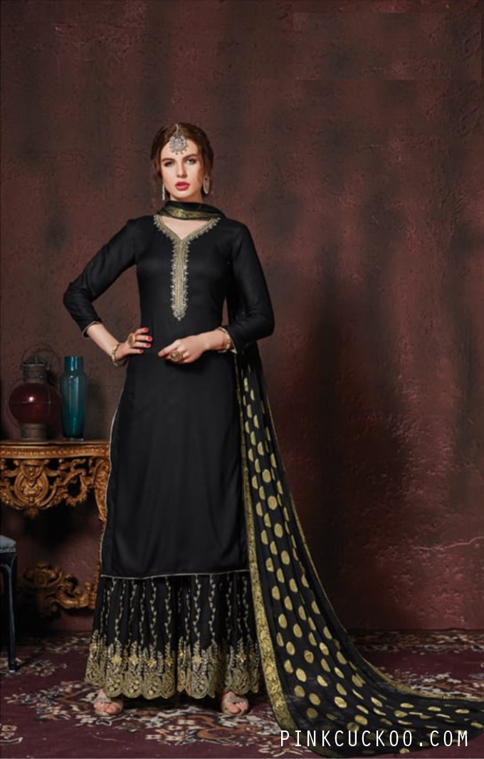 Cotton Black Embroidered Sharara Suit