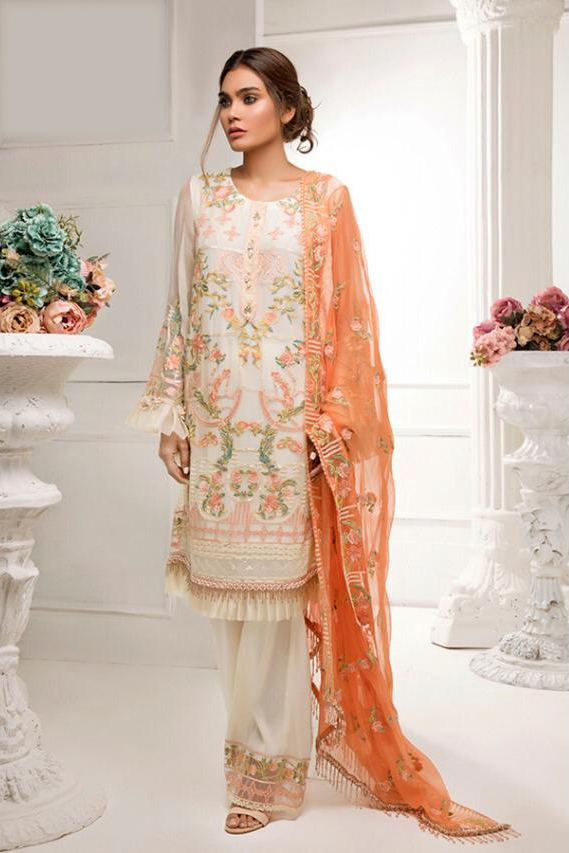 Pakistani OFF White Embroidered Party Wear Suit