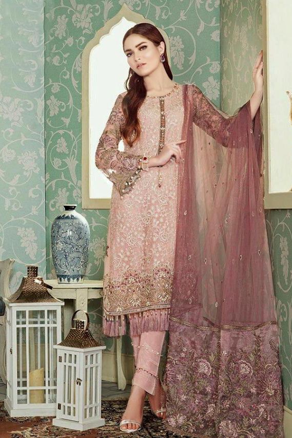Pakistani Pink Embroidered Party Wear Suit