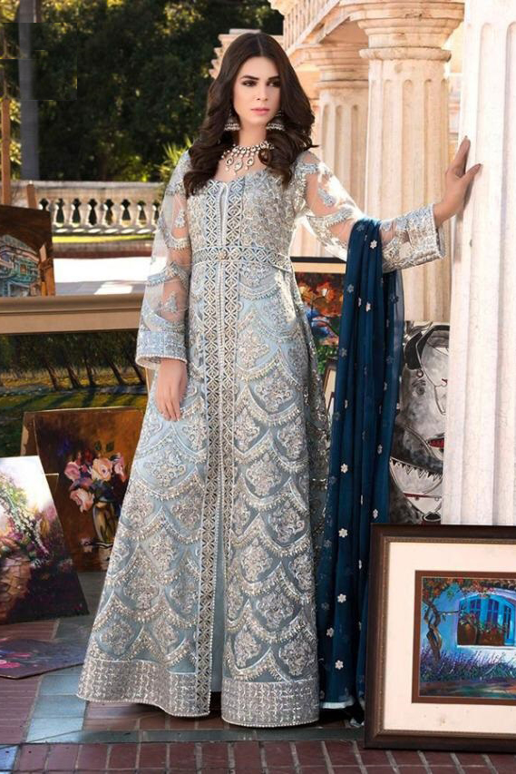 Pakistani Grey Embroidered Party Wear Suit