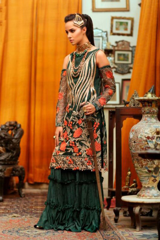 Pakistani Green Embroidered Party Wear Suit