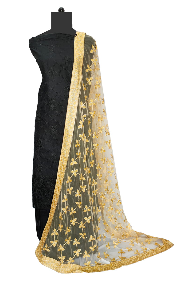 Golden Georgette Embroidery Work Dupatta