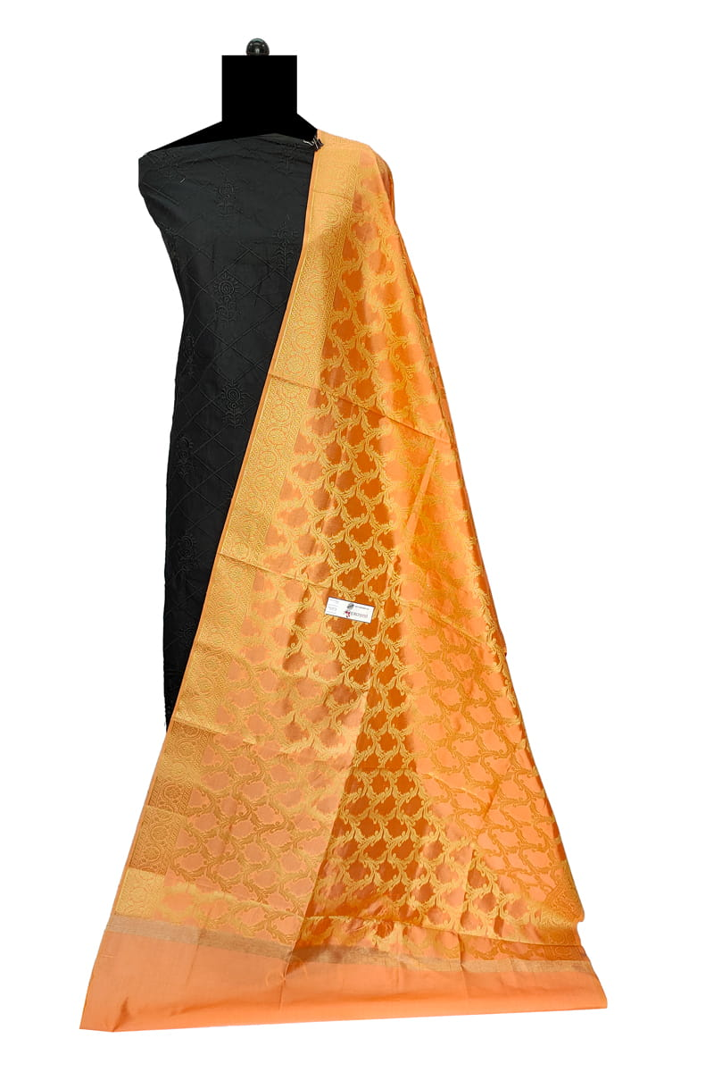 Orange Color Booti Work Heavy Banarasi Silk Dupatta