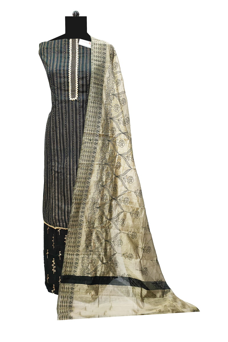 Cotton Black Embroidered Suit With Silk Dupatta SKUCTBLKSL185020