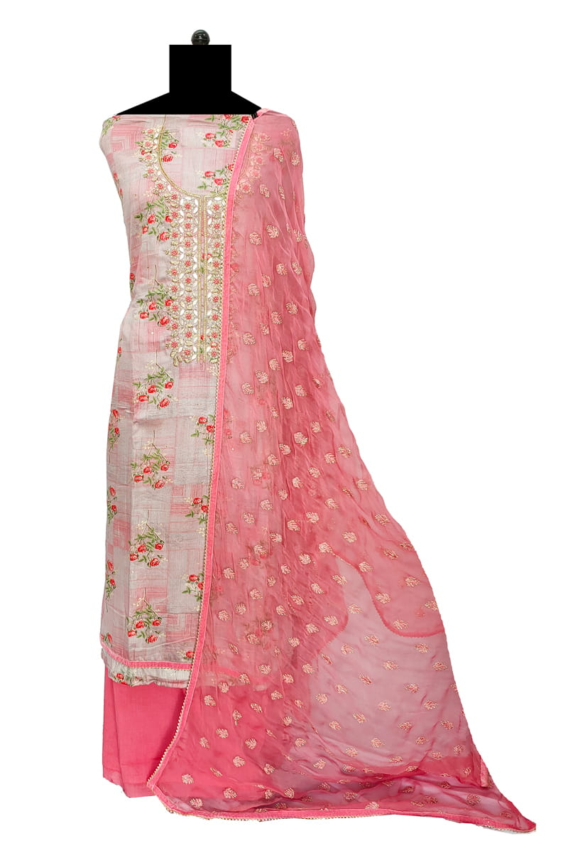 Pink Embroidered Cotton Dabka Work Suit With Chiffon Embroidered Dupatta